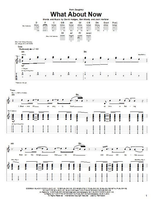 Tablature guitare What About Now de Daughtry - Tablature Guitare