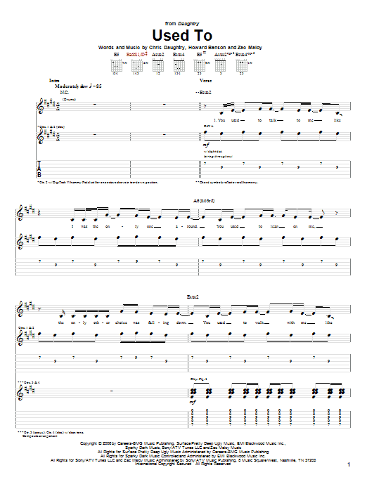 Used To (Guitar Tab)