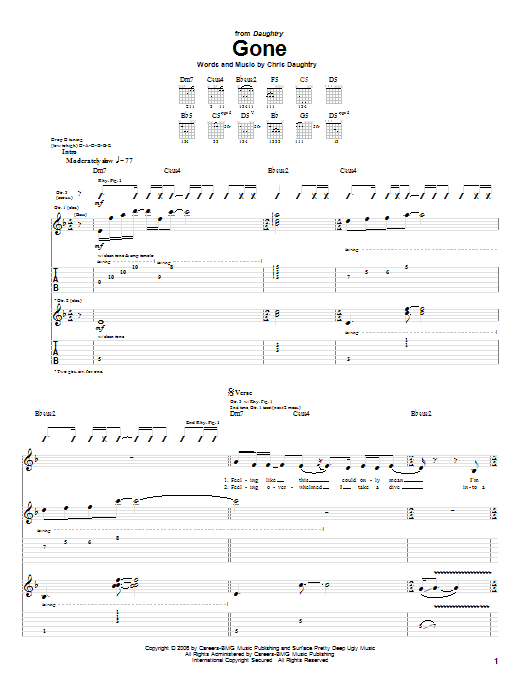 Tablature guitare Gone de Daughtry - Tablature Guitare