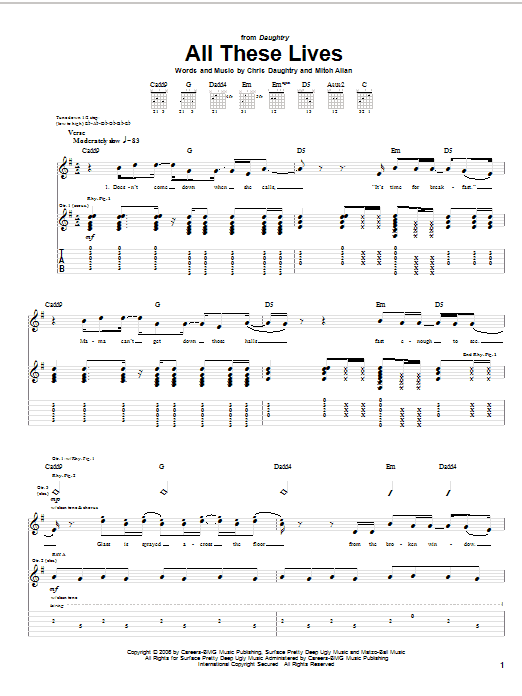 Tablature guitare All These Lives de Daughtry - Tablature Guitare