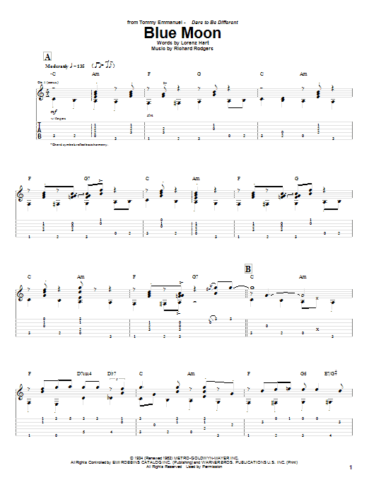 Tablature guitare Blue Moon de Tommy Emmanuel - Tablature Guitare