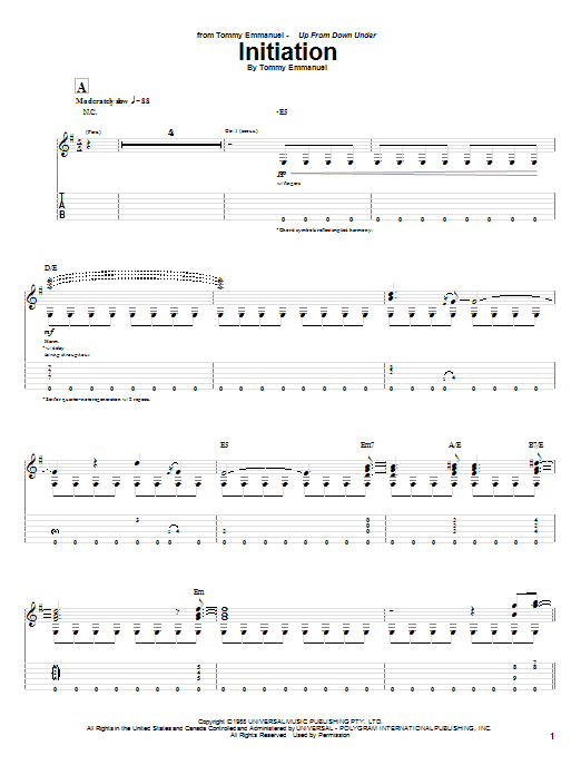 Initiation (Guitar Tab)