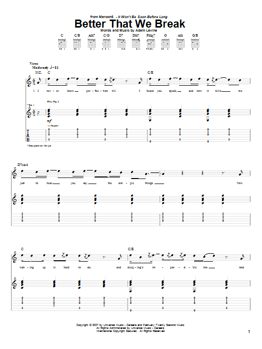 Tablature guitare Better That We Break de Maroon 5 - Tablature Guitare