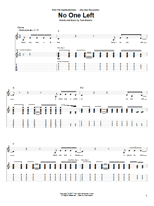 No One Left (Guitar Tab)