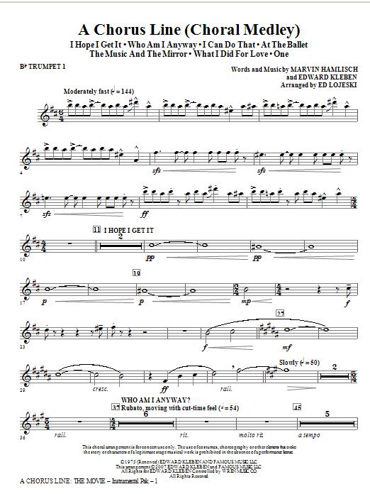 A Chorus Line - Trumpet 1 in Bb Sheet Music