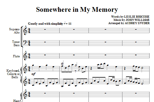 Somewhere In My Memory (COMPLETE) sheet music for orchestra/band (Orchestra) by Audrey Snyder, John Williams and Leslie Bricusse. Score Image Preview.