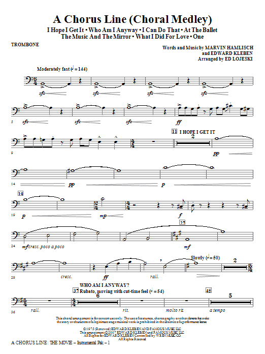 A Chorus Line - Trombone Sheet Music