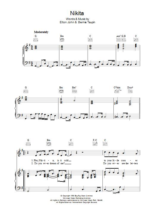 Nikita (Piano, Vocal & Guitar)