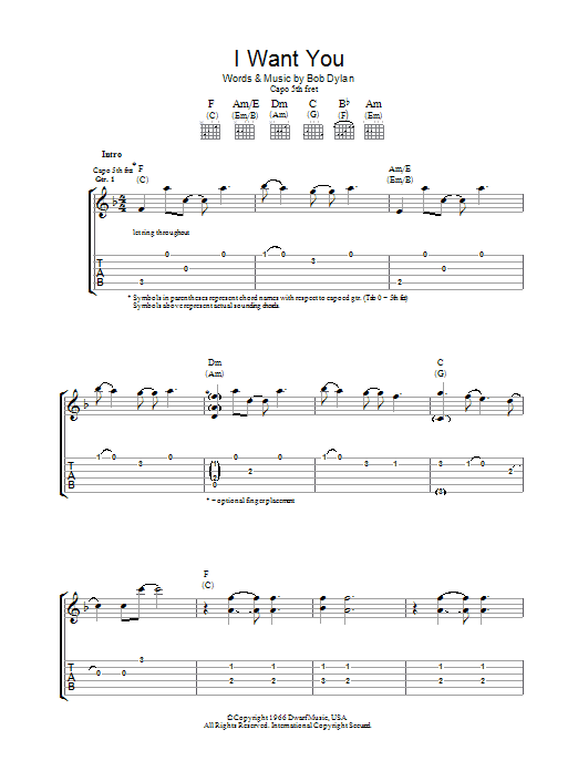 I Want You (Guitar Tab)