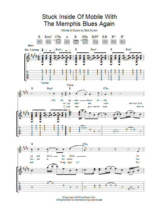 Stuck Inside Of Mobile With The Memphis Blues Again Sheet Music