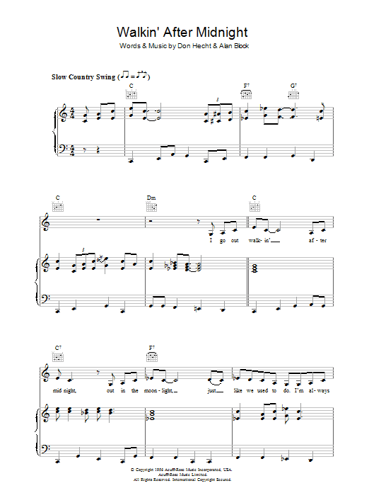 Walkin' After Midnight (Piano, Vocal & Guitar)