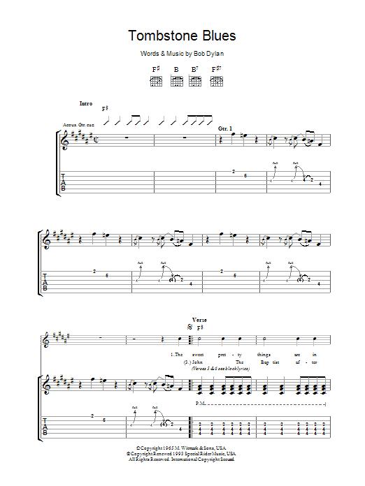 Tombstone Blues Sheet Music