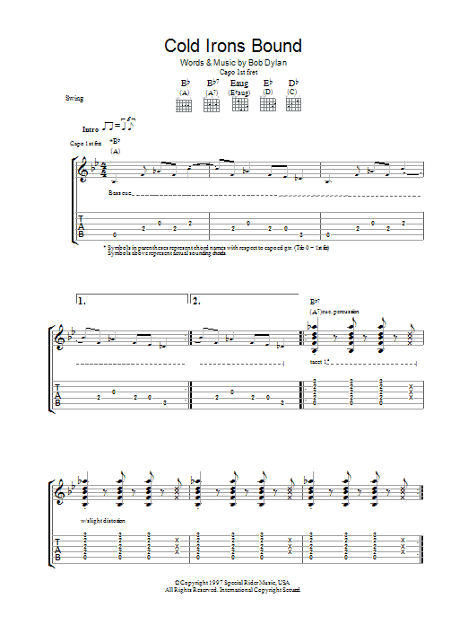 Cold Irons Bound (Guitar Tab)