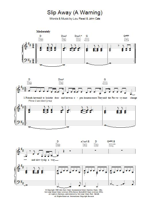 Slip Away (A Warning) (Piano, Vocal & Guitar)