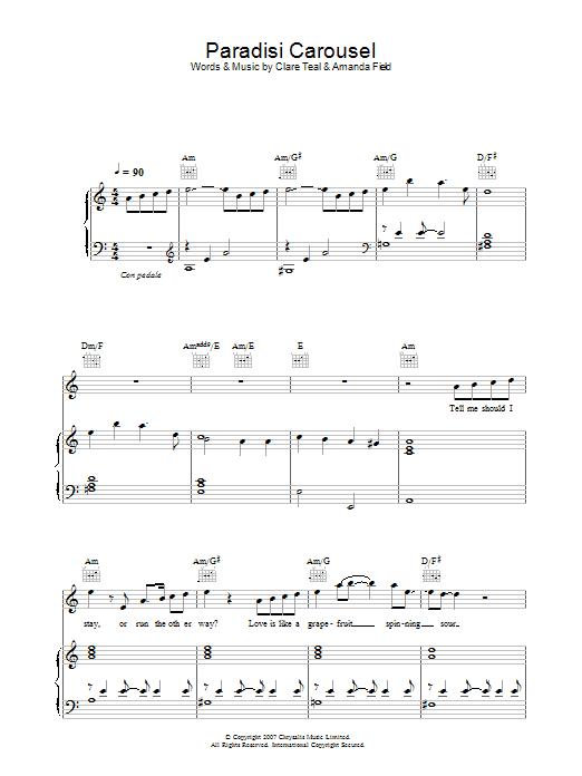 Paradisi Carousel Sheet Music Clare Teal Piano Vocal Guitar