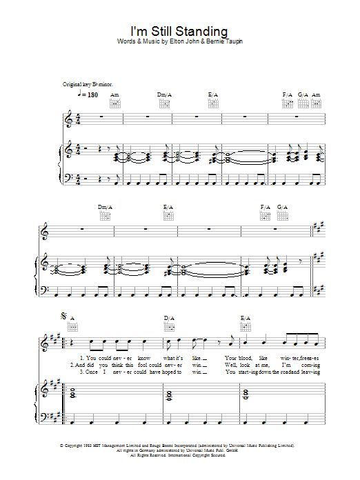 I'm Still Standing (Piano, Vocal & Guitar)