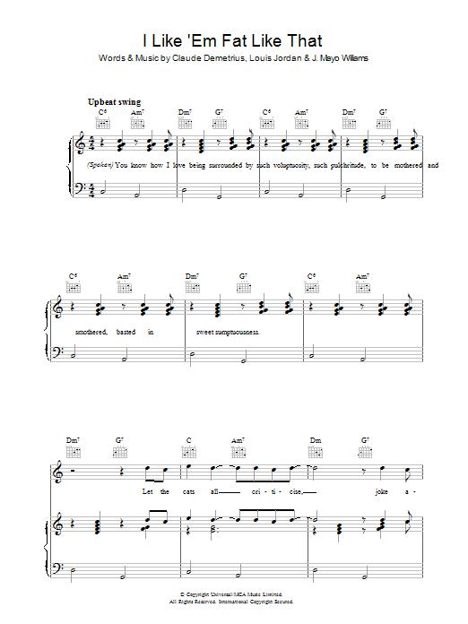 I Like 'em Fat Like That (Piano, Vocal & Guitar)