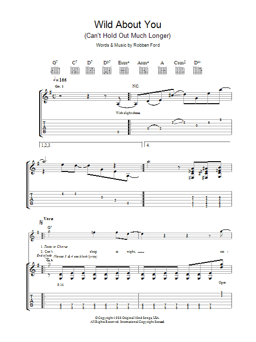 Wild About You (Can't Hold Out Much Longer) Sheet Music