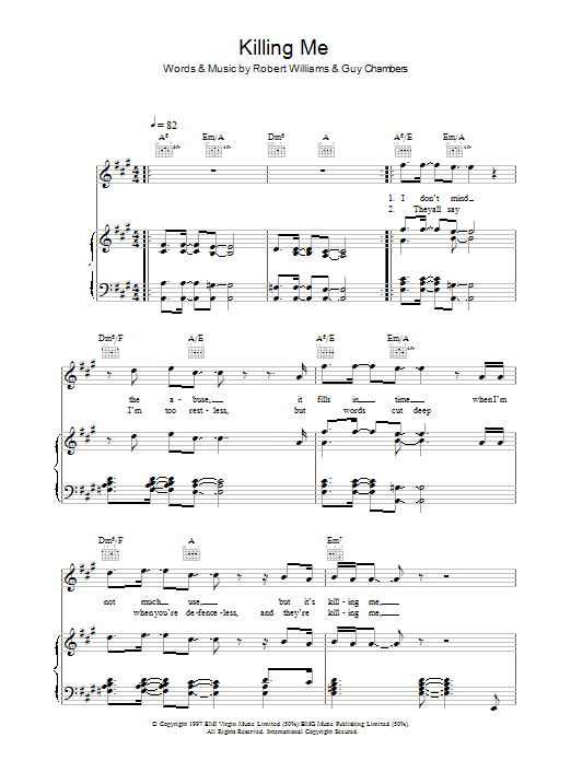Killing Me Sheet Music