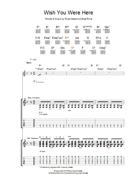 Guitar guitar tabs wish you were here : Wish You Were Here by Ryan Adams - Guitar Tab - Guitar Instructor