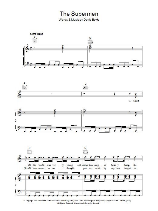 The Supermen (Piano, Vocal & Guitar)