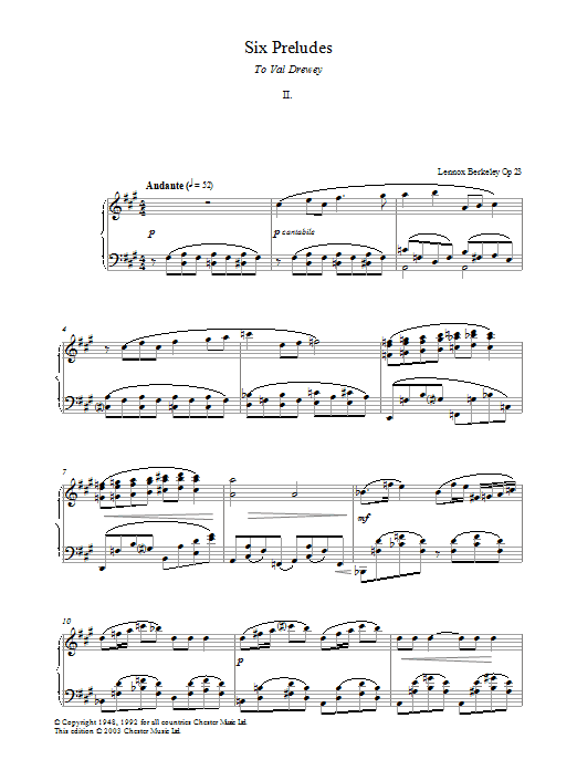 Prelude No. 2 (from Six Preludes) Sheet Music
