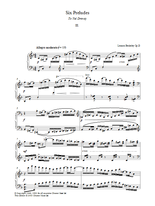 Prelude No. 3 (from Six Preludes) Sheet Music