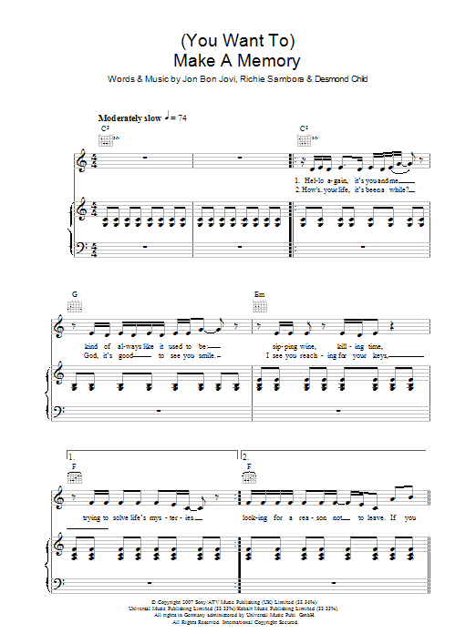 (You Want To) Make A Memory Sheet Music