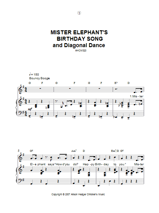 Mister Elephant's Birthday Song And Diagonal Dance (Piano, Vocal & Guitar)