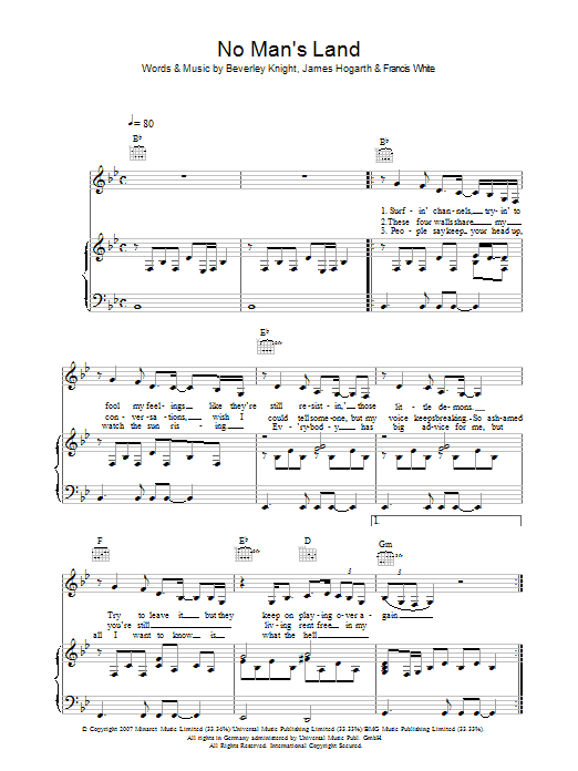No Man's Land Sheet Music