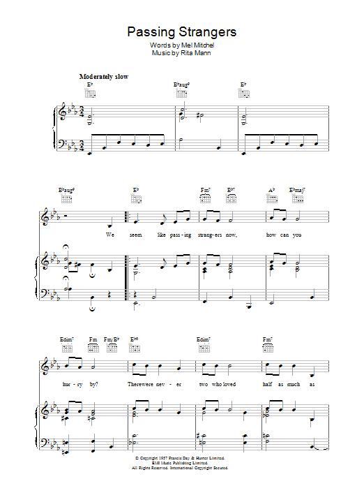 Passing Strangers (Piano, Vocal & Guitar)