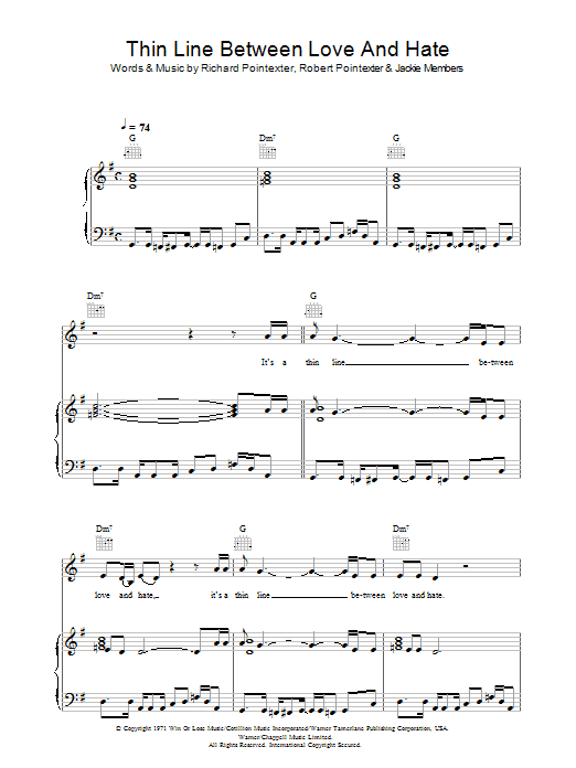 Thin Line Between Love And Hate Sheet Music
