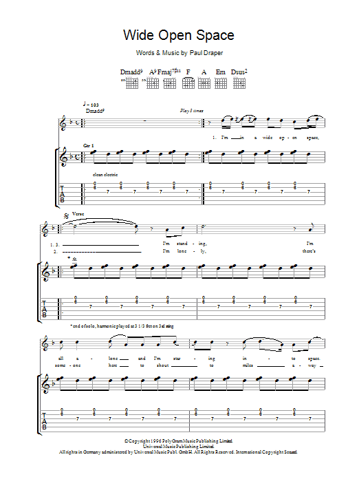 Wide Open Space (Guitar Tab)