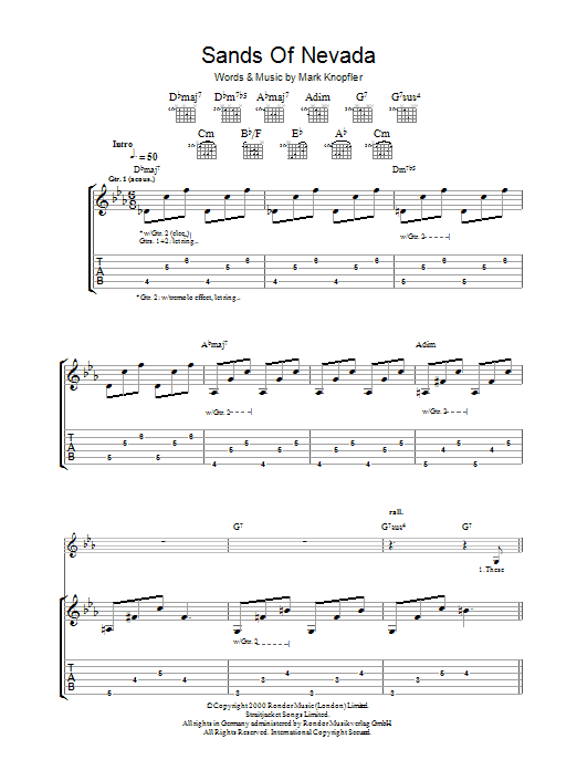 Sands Of Nevada (Guitar Tab)