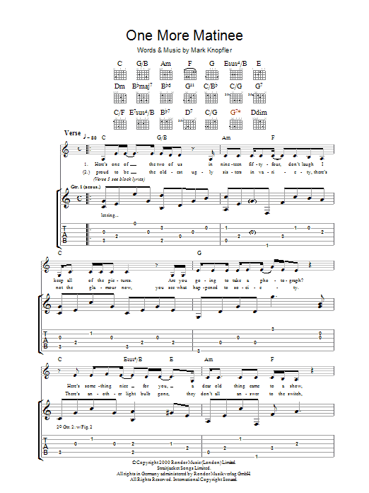 One More Matinee (Guitar Tab)