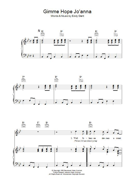 Gimme Hope Jo'anna (Piano, Vocal & Guitar)