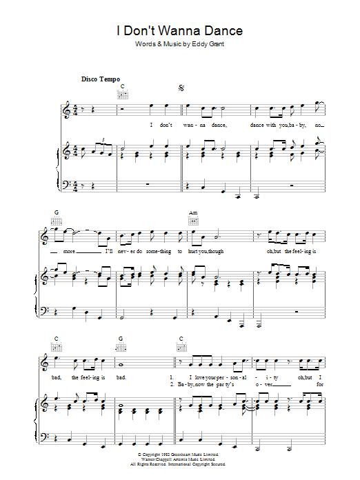 I Don't Wanna Dance (Piano, Vocal & Guitar)