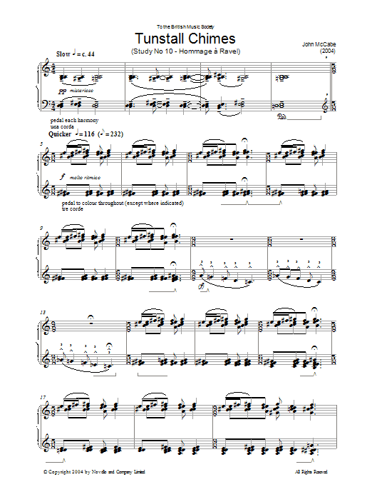 Tunstall Chimes, Study No. 10 - Hommage A Ravel (Piano Solo)