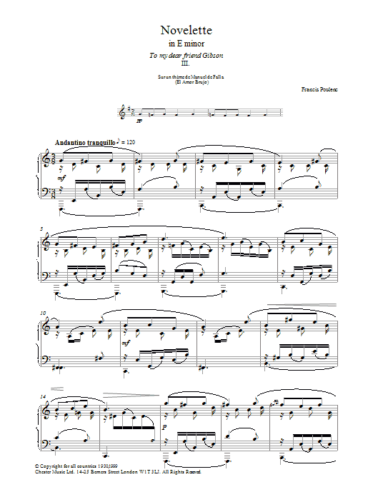 Novelette In E Minor, III (Piano Solo)