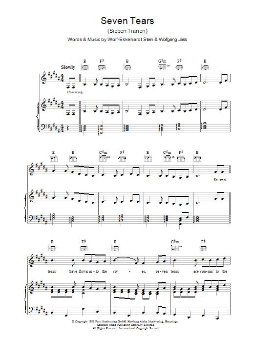 Seven Tears Sheet Music