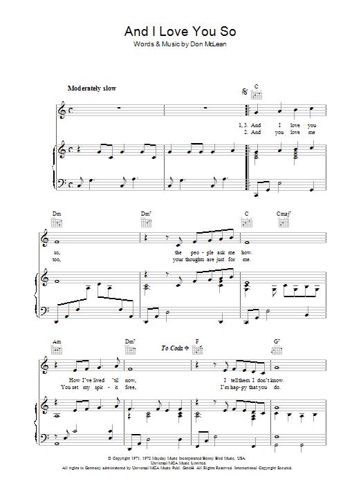 And I Love You So (Piano, Vocal & Guitar)