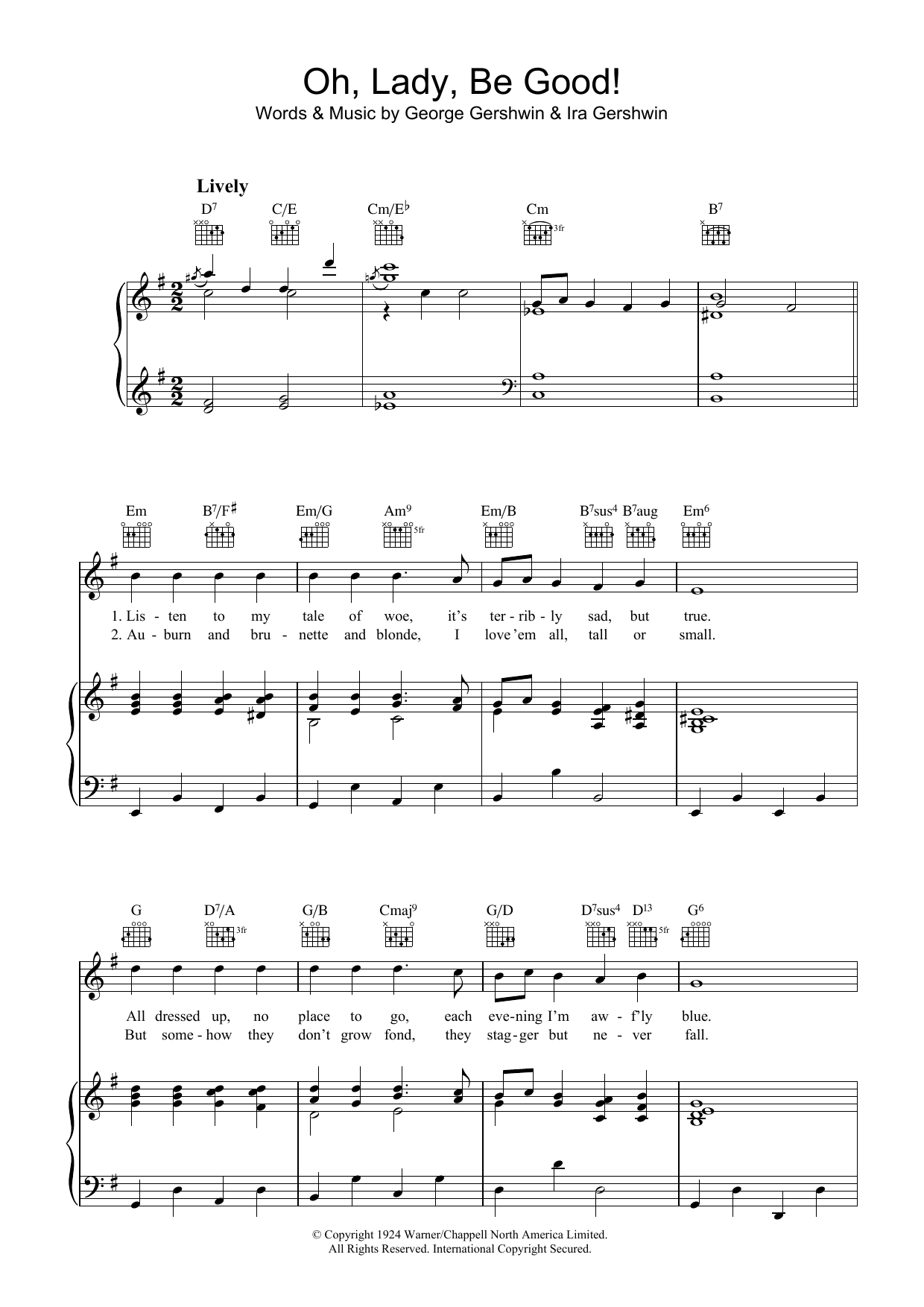 Oh, Lady, Be Good (Piano, Vocal & Guitar)