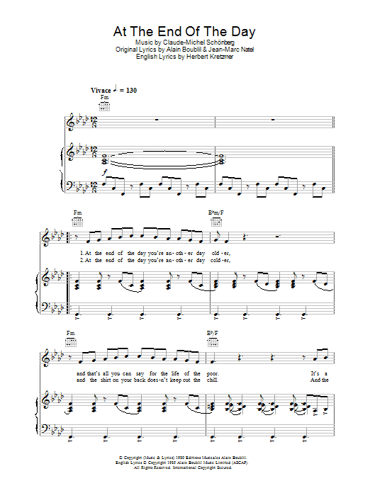 At The End Of The Day (from Les Miserables) Sheet Music
