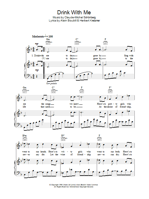 Drink With Me (To Days Gone By) (from Les Miserables) Sheet Music