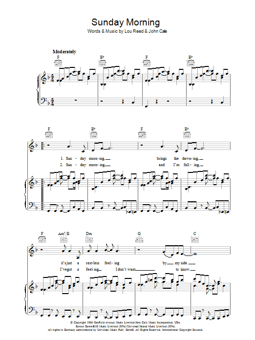 Sunday Morning (Piano, Vocal & Guitar)