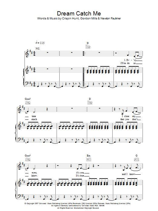 Dream Catch Me (Piano, Vocal & Guitar)