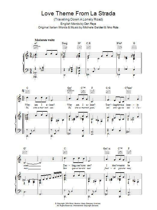 Love Theme (from La Strada) (Piano, Vocal & Guitar)