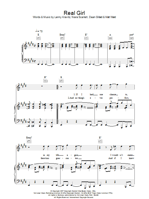 Real Girl (Piano, Vocal & Guitar)