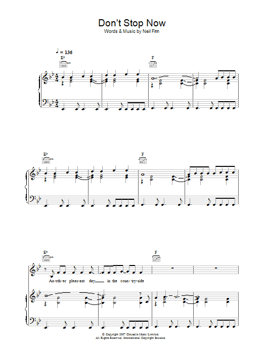 Don't Stop Now (Piano, Vocal & Guitar)
