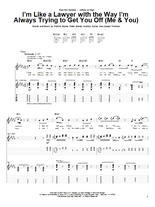 Tablature guitare I'm Like A Lawyer With The Way I'm Always Trying To Get You Off (Me & You) de Fall Out Boy - Tablature Guitare